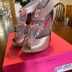 Betsy Johnson blush floral heels